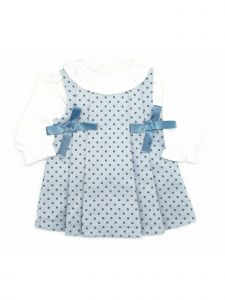 Coquelicot Baby Girls Blue Under Shirt Side Ribbon Bow Adorned Dress 3-18M