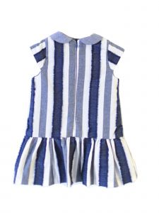 Coquelicot Baby Girls Blue White Stripe Satin Bow Capri Cotton Tobago Dress 12-18M