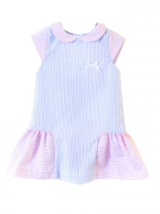 Coquelicot Little Girls Pink Blue Color Block Capri San Remo Lined Dress 2T-6