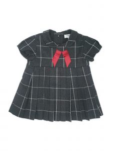 Coquelicot Baby Girls Dark Gray Contrast Bow Adorned Pleated Dress 3-12M