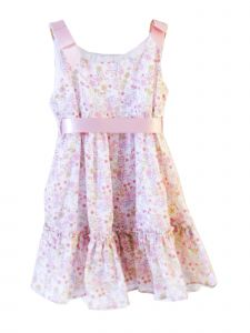 Coquelicot Little Girls Pink Floral Contrasting Ribbon Fiji Bamby Dress 2T-6