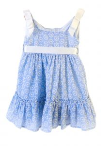 Coquelicot Baby Girls Blue Embroidered Ribbon Fiji Gasa Bordada Dress 3-18M