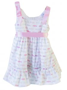 Coquelicot Little Girls White Pink Little Fish Fiji Poppy Malva Dress 2T-6
