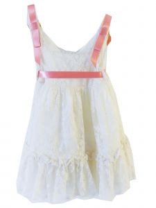Coquelicot Little Girls Ivory Embroidered Tulle Fiji Tul Bordado Dress 2T-6