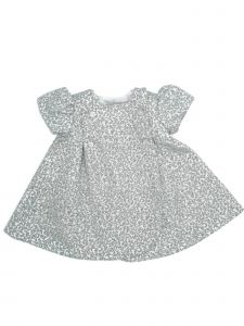 Coquelicot Girls Gray Decorative Button Adorned Jacquard Dress 3M-2T