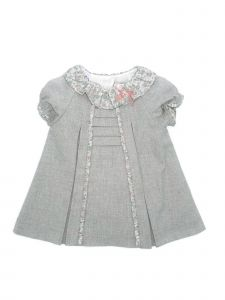 Coquelicot Girls Gray Floral Print Collar Ribbon Bow Adorned Dress 3M-2T