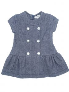 Coquelicot Girls Navy Decorative Button Adorned Jacquard Dress 3M-2T