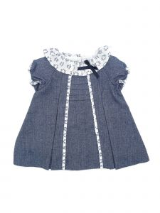 Coquelicot Girls Navy Contrast Collar Ribbon Bow Adorned Dress 3M-2T