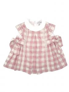Coquelicot Baby Girls Pink Checkered Short Sleeve Lace Trim Adorned Dress 3-18M