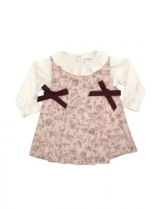 Coquelicot Little Girls Pink Under Shirt Side Ribbon Bow Accent Dress 2T-5