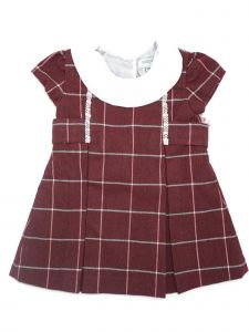 Coquelicot Baby Girls Red Short Sleeve Collar Trim Detail Dress 9-18M