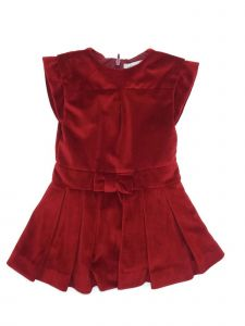Coquelicot Little Girls Red Velvet Bow Accent Pleated Knee Length Dress 2-4T