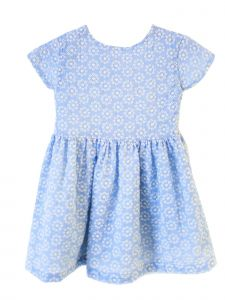 Coquelicot Little Girls Blue Vichy Open Back Rimini Gasa Bordada Dress 2T-6