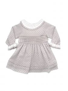 Coquelicot Baby Girls Rose Contrast Collar Stylish Pleated Dress 3-18M