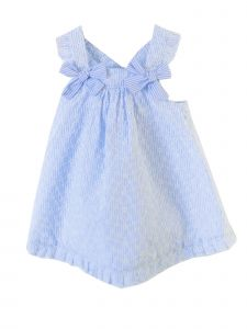 Coquelicot Girls Light Blue White Bow Santorini Rayas Bdas Dress 3M-3T