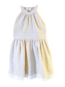 Coquelicot Little Girls Beige Spanish Lace Trim Split Lino Seta Dress 2T-6