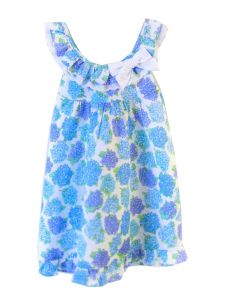 Coquelicot Girls Blue White Trim St Barths Linen Powerty Malva Dress 3M-2T