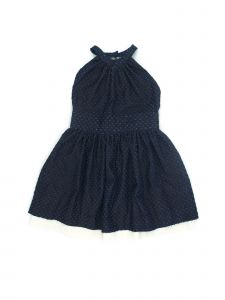 Coquelicot Little Girls Blue White Lace Trim Split Denim Powerty Dress 2T-5