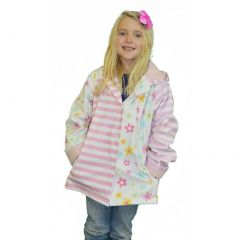 Little Girls Pastel Posies Rain Coat 2T-6