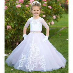 Triumph Dress Big Girls Pink White Train Tulle Cory Flower Girl Dress 7-12