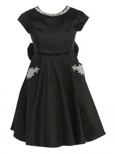 Crayon Kids Big Girls Black Rhinestone Pockets Bow Junior Bridesmaid Dress 8