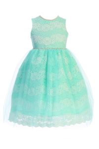 Crayon Kids Girls Multi Color Floral Lace Tulle Pearls Easter Dress 2T-14