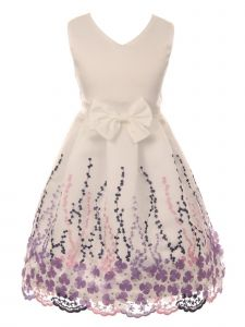 Just Kids Little Girls Off-White Floral Print Bow Flower Girl Dress 2-6