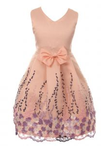 Just Kids Big Girls Pink Floral Print Bow Junior Bridesmaid Dress 8-14