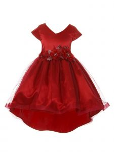 Crayon Kids Big Girls Red Tulle High-Low Sparkle Flower Christmas Dress 8-14