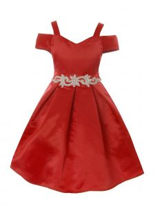 Crayon Kids Little Girls Red Cold Shoulder Rhinestone Christmas Dress 2T-6