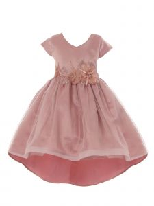 Crayon Kids Little Girls Rose Tulle High-Low Sparkle Flower Christmas Dress 2T-6
