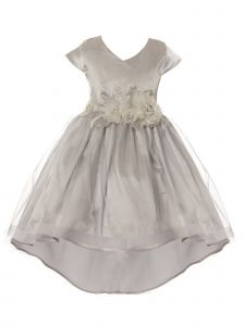 Crayon Kids Little Girls Silver Tulle High-Low Sparkle Flower Christmas Dress 6