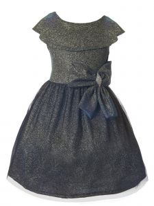 Just Kids Little Girls Gold Royal Velvet Glitter Tulle Christmas Dress 4-6