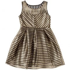 Designer Kidz Big Girls Black Gold Stripe Skater Junior Bridesmaid Dress 7-16