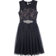 Designer Kidz Big Girls Black Lace Brooch Audrey Junior Bridesmaid Dress 7-16