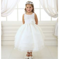 Calla Collection Little Girls Ivory Floral Sash Flower Girl Dress 2T-6