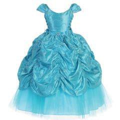 Calla Collection Big Girls Turquoise Cinderella Embroidered Pageant Dress 14-16