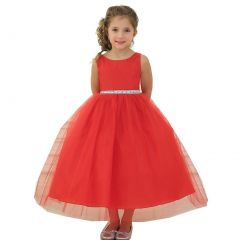 Calla Collection Big Girls Red Rhinestone Tulle Junior Bridesmaid Dress 8-12