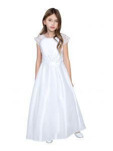 Little Girls White Satin Lace Sleeves Communion Flower Girl Dress 6