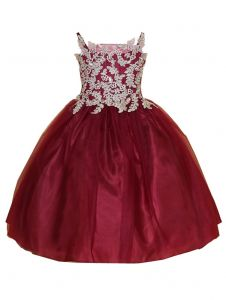 Little Girls Burgundy Gold Embroidery Strap Flower Girl Dress 2-6