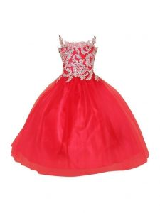 Big Girls Red Gold Embroidery Strap Junior Bridesmaid Dress 8-16