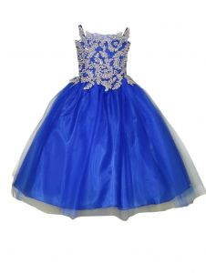Big Girls Royal Blue Gold Embroidery Strap Junior Bridesmaid Dress 8-16