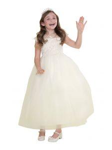 Big Girls Ivory Lace Bodice Cap Sleeve Tulle Floor Length Junior Bridesmaid 10