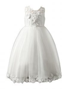 Girls Multi Color Hi Low Flower Lace Appliques Junior Bridesmaid Dress 2-12