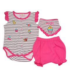 Baby Girls Fuchsia Fruit Stripe Print Bottoms Bloomers 3 Pc Bodysuit Set 3-9M