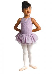 Danshuz Little Girls Lavender Floral Mesh Layer Girls Dance Leotard 2-6