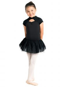 Danshuz Big Girls Black Lace Overlay Cutout Cap Sleeve Dance Leotard Dress 6X-10