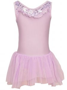 Danshuz Little Girls Lavender Sequined Sleeveless Dance Leotard Dress 2-6