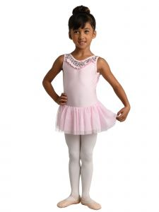 Danshuz Little Girls Light Pink Sequined Sleeveless Dance Leotard Dress 2-6