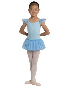 Danshuz Big Girls Light Blue Ruffle Bow Dance Leotard Dress 6X-10